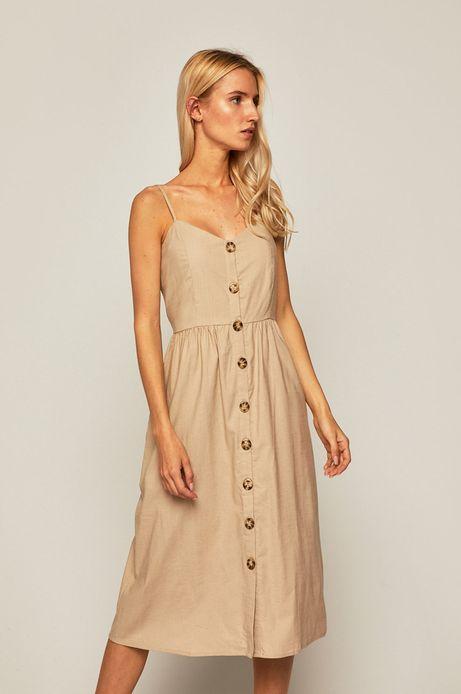 Sukienka damska z domieszką lnu beżowa