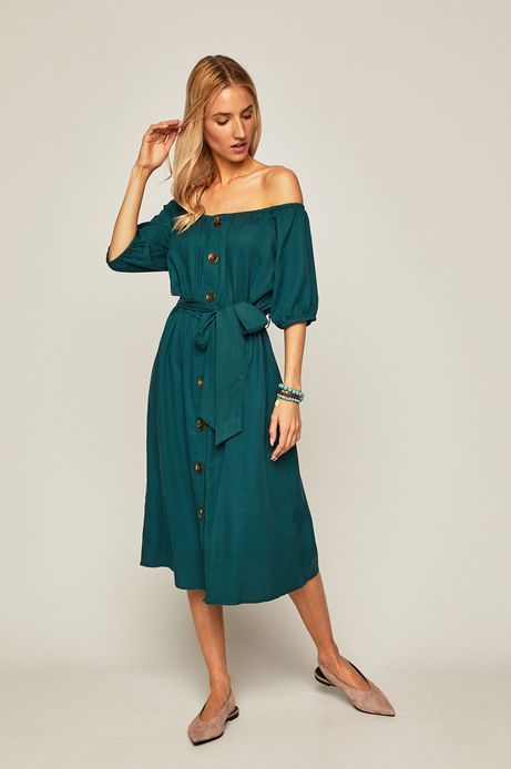 Sukienka damska z odkrytymi ramionami zielona