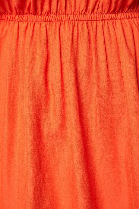 Sukienka damska ściągana w talii pomarańczowa