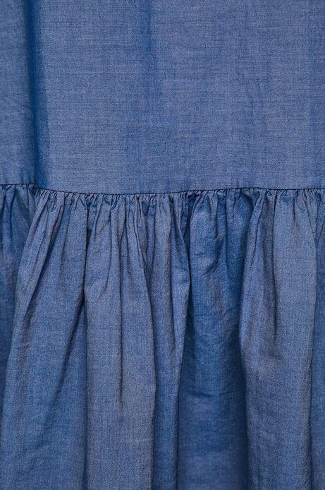 Sukienka damska z falbanką niebieska