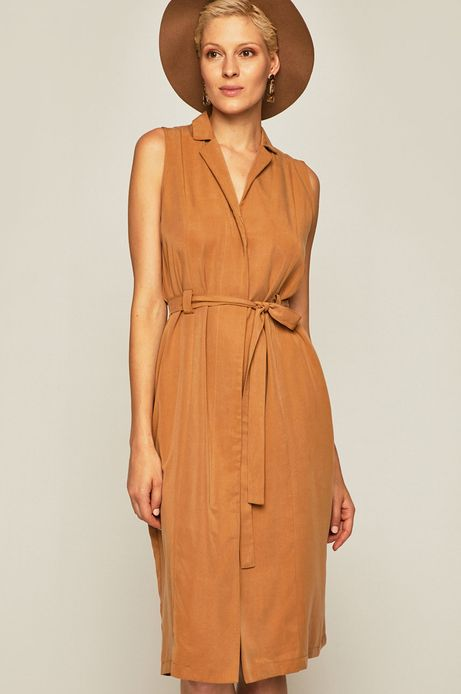 Sukienka damska wiązana w talii beżowa