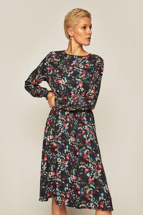 Sukienka damska z długim rękawem wzorzysta