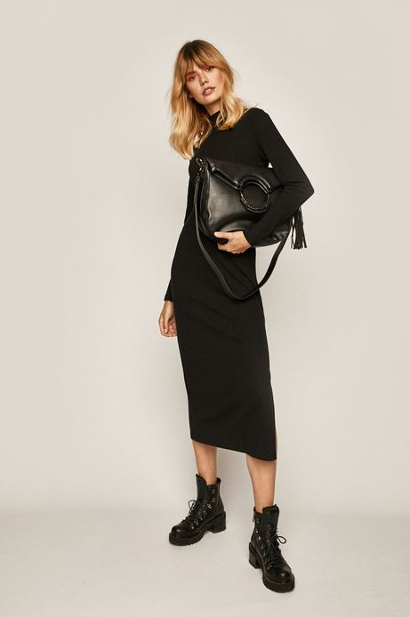 Sukienka damska z półgolfem czarna