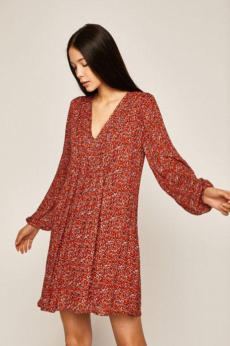 Sukienka damska ze spiczastym dekoltem czerwona