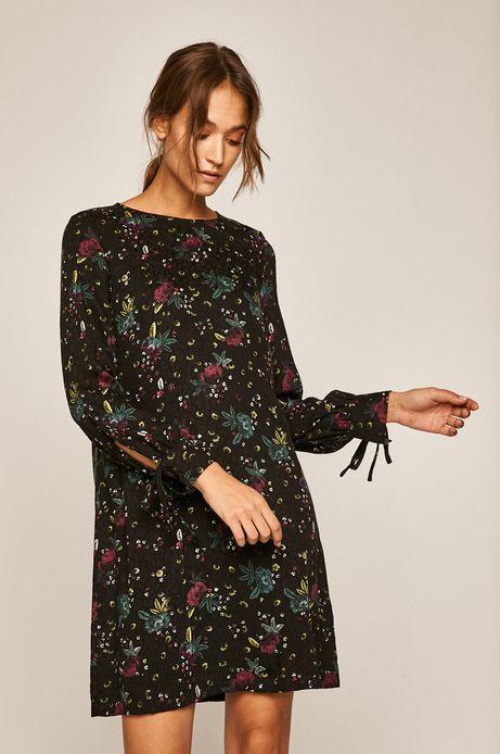 Sukienka damska z wiązaniem czarna