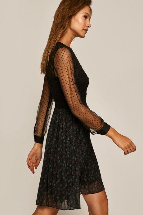 Sukienka damska z koronkową wstawką czarna