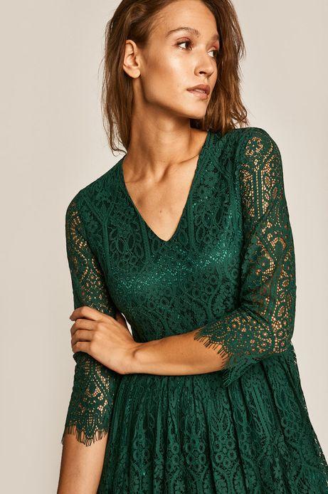 Sukienka damska koronkowa zielona