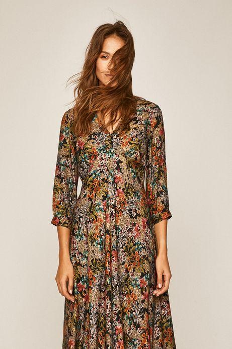 Sukienka damska ze spiczastym dekoltem w kwiaty