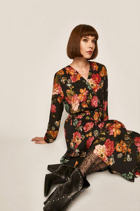 Sukienka damska w kwiaty czarna