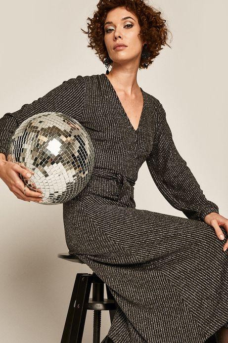 Sukienka damska z kopertowym dekoltem srebrna