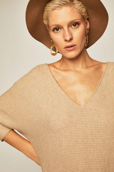 Sweter damski z odkrytymi plecami żółty