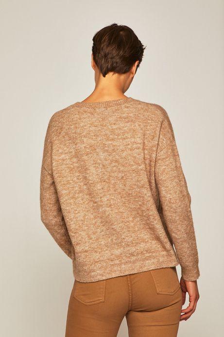 Sweter damski z okrągłym dekoltem beżowy