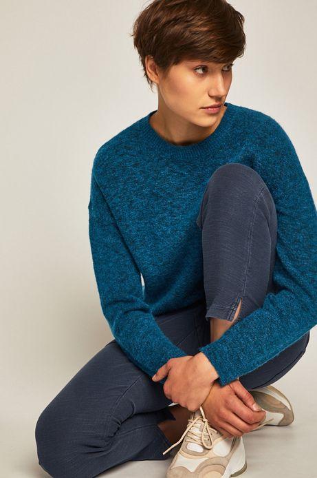 Sweter damski z okrągłym dekoltem turkusowy