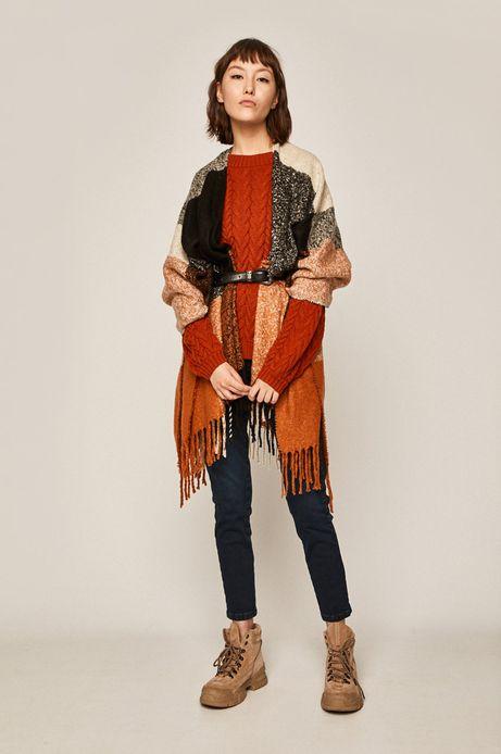Sweter damski z warkoczowym splotem rudy