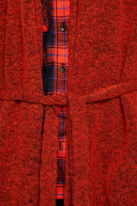 Kardigan damski z paskiem czerwony