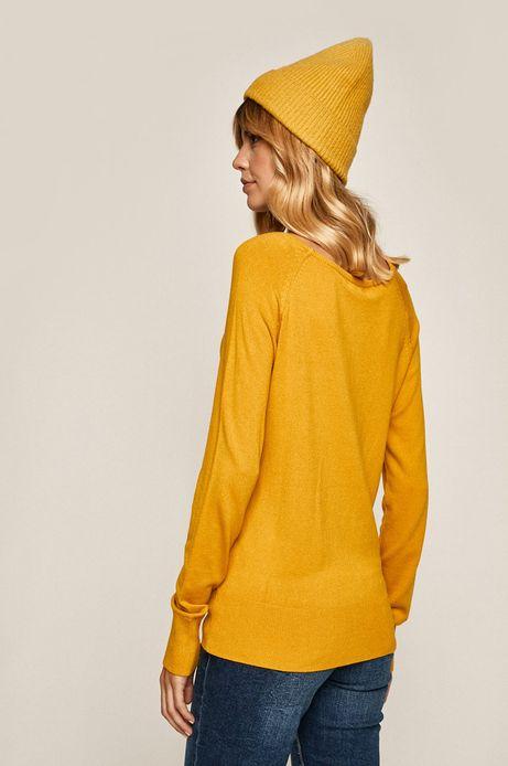 Sweter damski z okrągłym dekoltem żółty