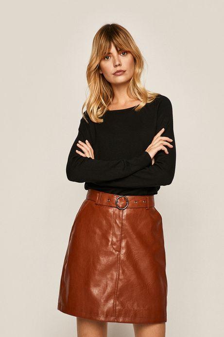 Sweter damski z okrągłym dekoltem czarny