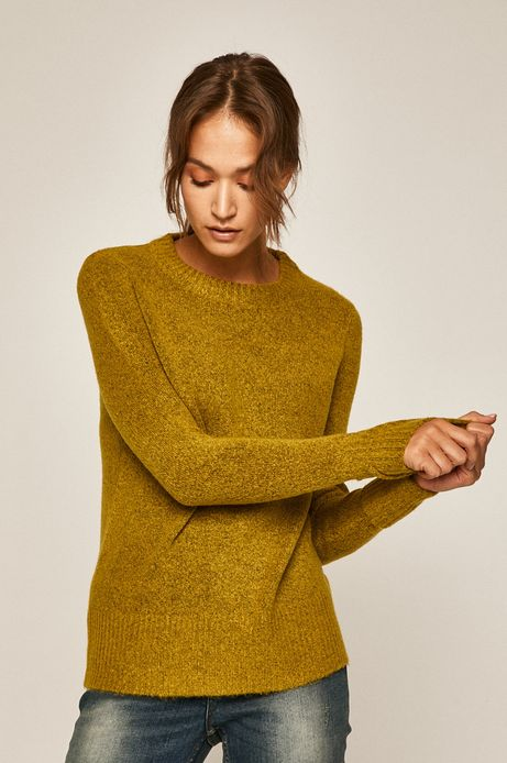 Sweter damski z okrągłym dekoltem zielony