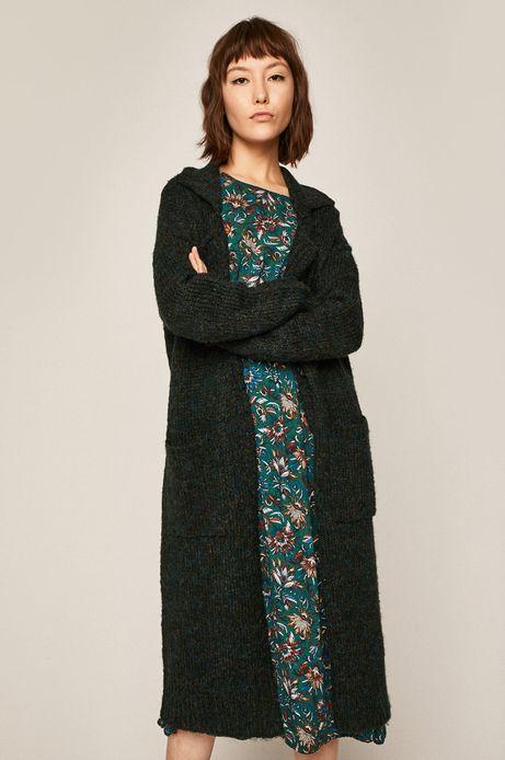 Sweter damski z kołnierzem zielony