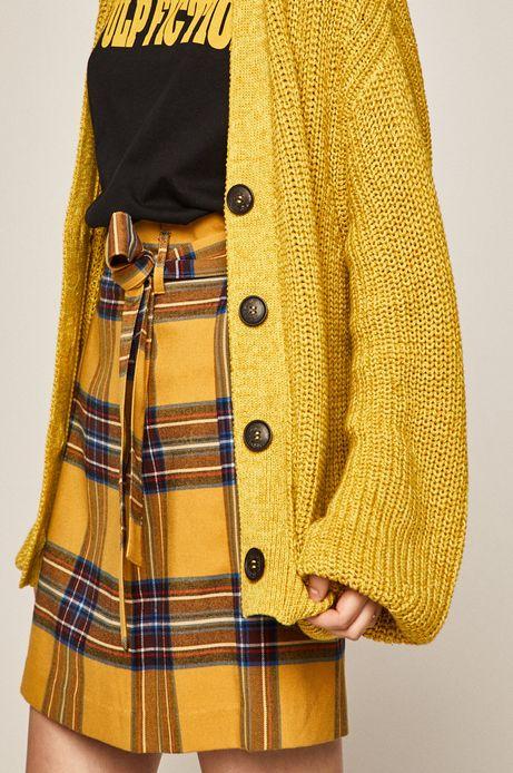 Kardigan damski z obniżoną linią ramion żółty