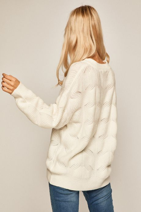 Sweter damski ażurowy kremowy