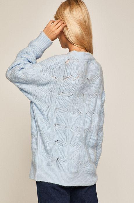 Sweter damski ażurowy niebieski