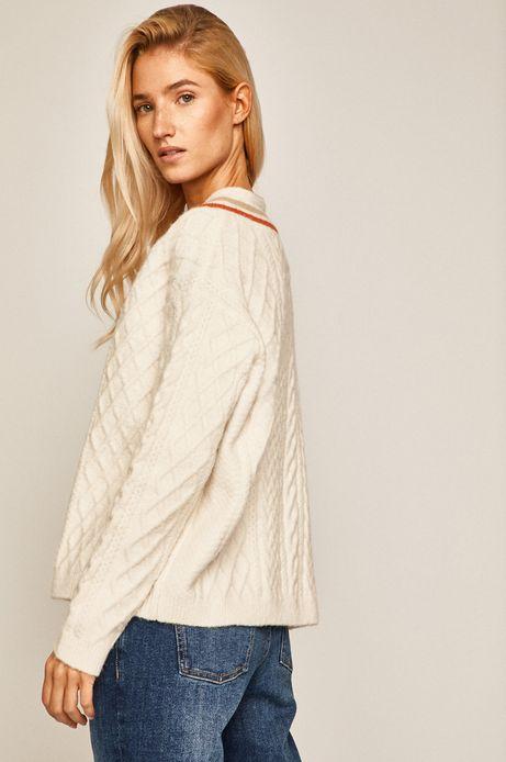 Sweter damski z dekoltem w serek kremowy