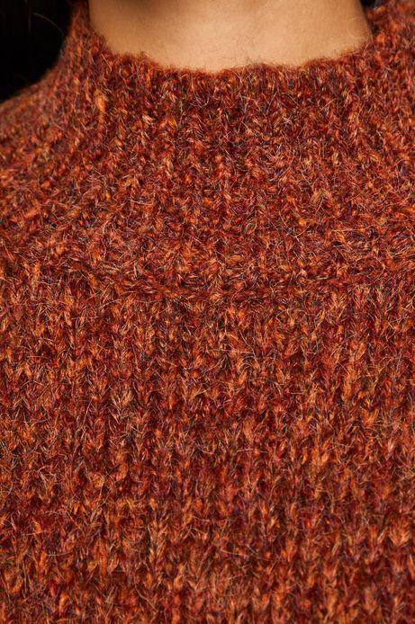Sweter damski z półgolfem pomarańczowy