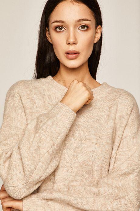 Sweter damski z domieszką wełny beżowy