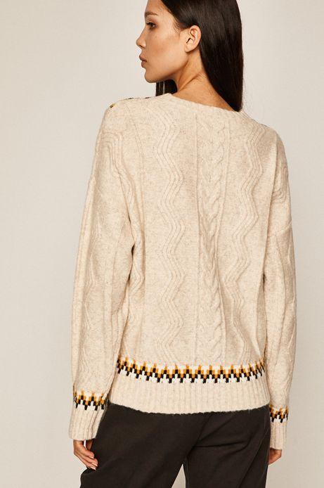 Sweter damski ze spiczastym dekoltem beżowy