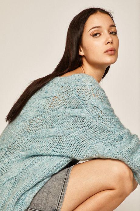 Sweter damski z domieszką wełny niebieski