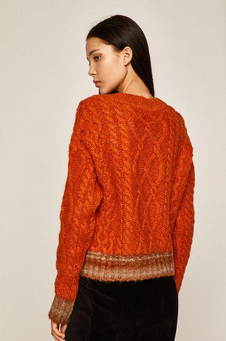 Sweter damski z domieszką wełny pomarańczowy
