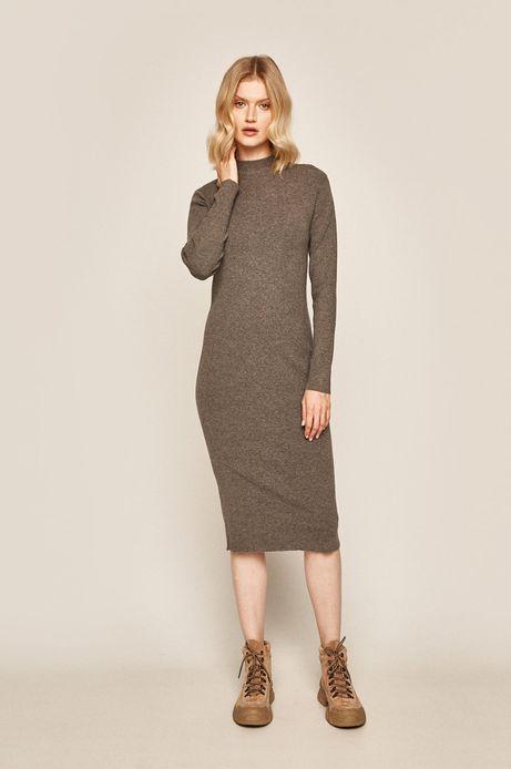 Sukienka damska z półgolfem szara