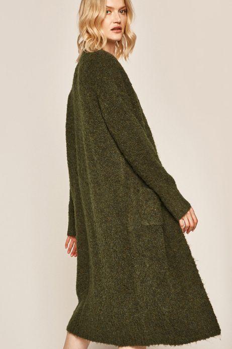 Kardigan damski z domieszką wełny zielony