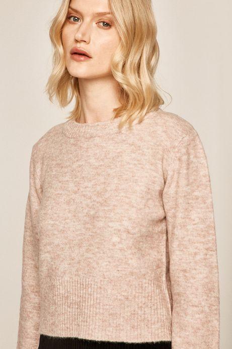 Sweter damski z okrągłym dekoltem różowy