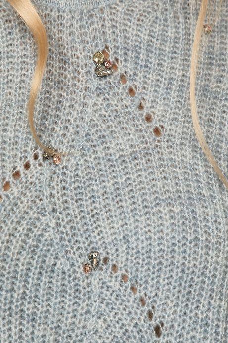 Sweter damski z aplikacją niebieski