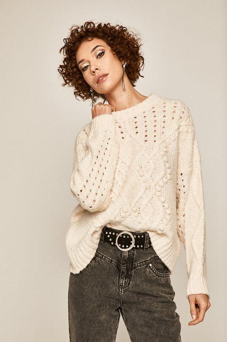 Sweter damski z ażurową wstawką kremowy