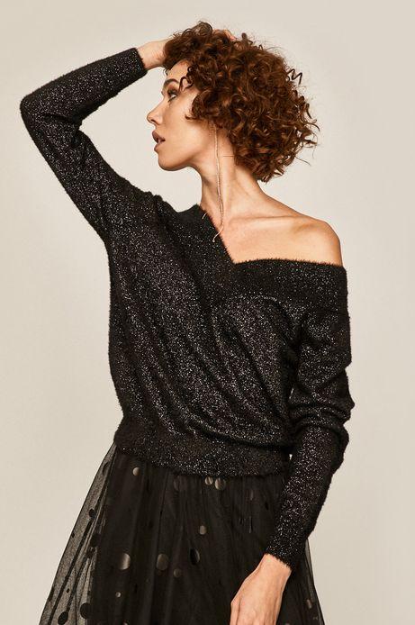 Sweter damski z metaliczna nitką czarny