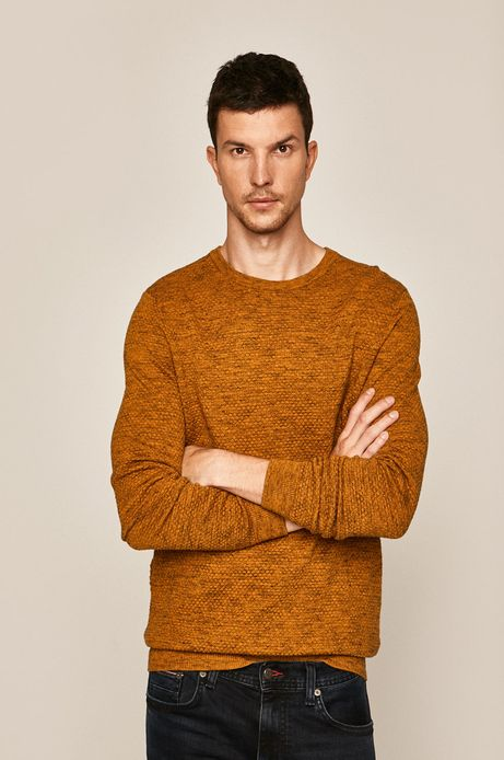 Sweter męski z fakturą żółty