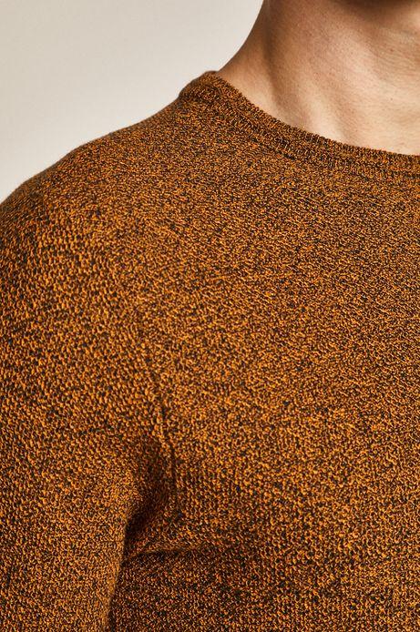 Sweter męski z okrągłym dekoltem musztardowy