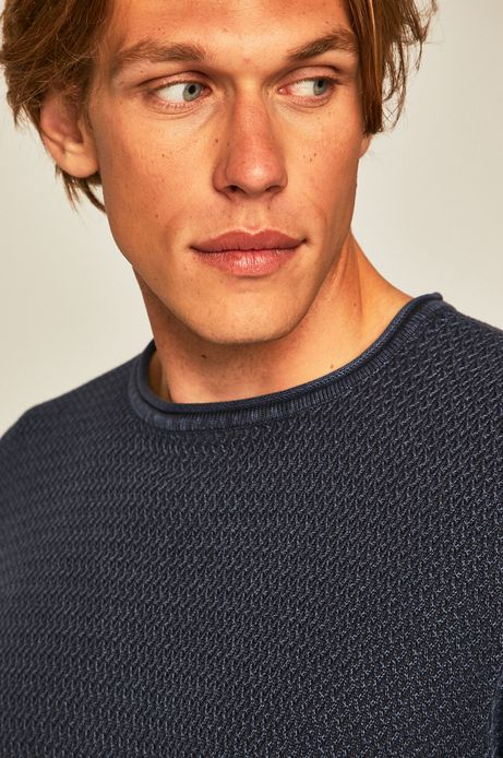 Sweter męski ze splotem granatowy