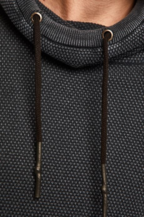 Sweter męski z wywijanym golfem granatowy