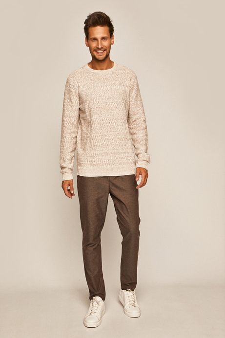 Sweter męski z okrągłym dekoltem beżowy