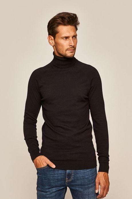Sweter męski z golfem czarny