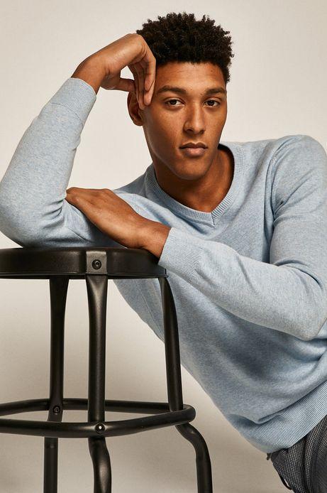 Sweter męski z dekoltem w serek niebieski