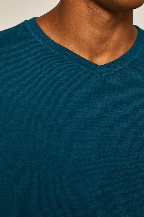 Sweter męski z dekoltem w serek turkusowy