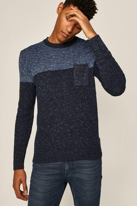 Sweter męski z kieszonką granatowy