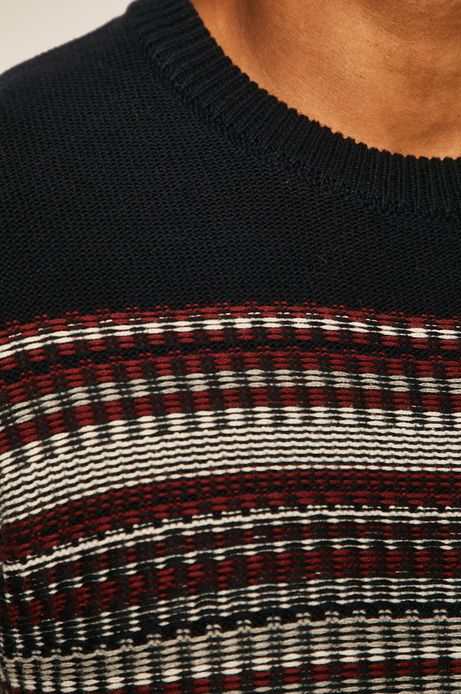 Sweter męski z wzorzystej dzianiny granatowy