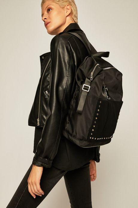 Plecak damski z ozdobnymi dżetami czarny