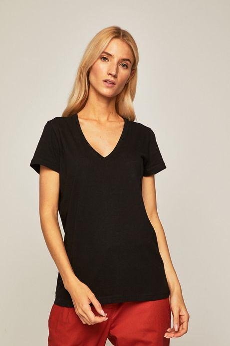 068fcf855 T-shirt damski ze spiczastym dekoltem czarny
